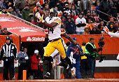 Antonio Brown of the Pittsburgh Steelers makes a touchdown catch in front of Tashaun Gipson of the Cleveland Browns during the second quarter at...