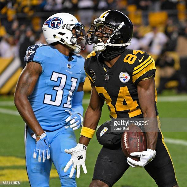 Antonio Brown of the Pittsburgh Steelers reacts after a 41 yard touchdown reception in the first quarter during the game against the Tennessee Titans...
