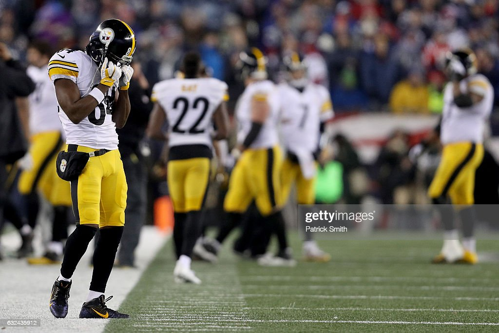 Antonio Brown #84 of the Pittsburgh Steelers reacts during the second half against the New England Patriots in the AFC Championship Game at Gillette Stadium on January 22, 2017 in Foxboro, Massachusetts.