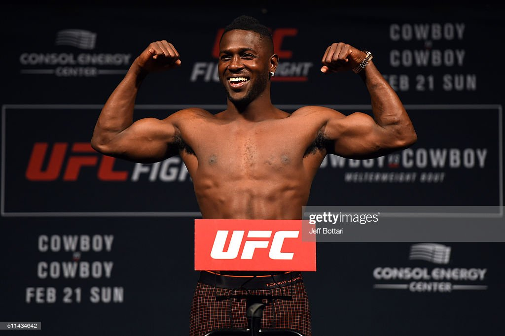 Antonio Brown of the Pittsburgh Steelers steps on the scale during the UFC Fight Night weigh-in at Stage AE on February 20, 2016 in Pittsburgh, Pennsylvania.