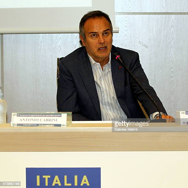 Antonio Cabrini during an Italian Football Federation seminar at Coverciano on May 18 2015 in Florence Italy