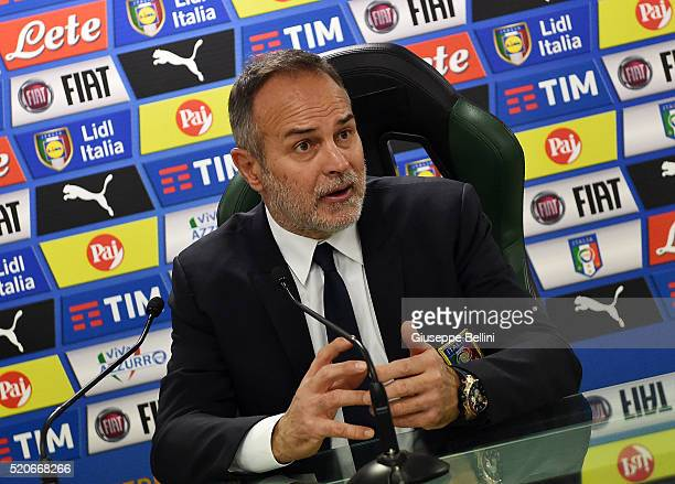 Antonio Cabrini head coach of Italy during the presse conference after the UEFA Women's Euro 2017 qualifier between Italy and Northern Ireland at...