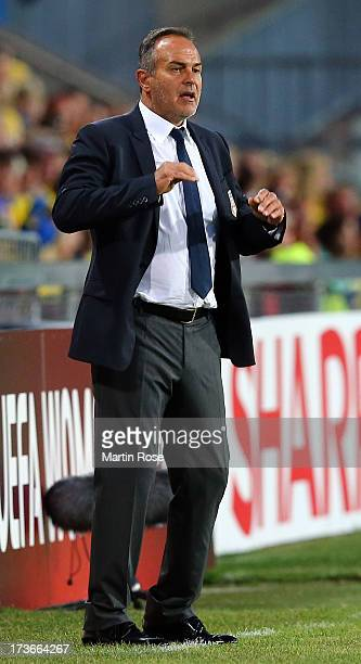 Antonio Cabrini head coach of Italy reacts during the UEFA Women's Euro 2013 group A match between Sweden and Italy at Orjans Vall on July 16 2013 in...