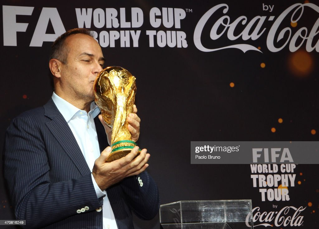 Antonio Cabrini kisses the FIFA World Cup Trophy at a party during day two of the FIFA World Cup Trophy Tour on February 20, 2014 in Rome, Italy.