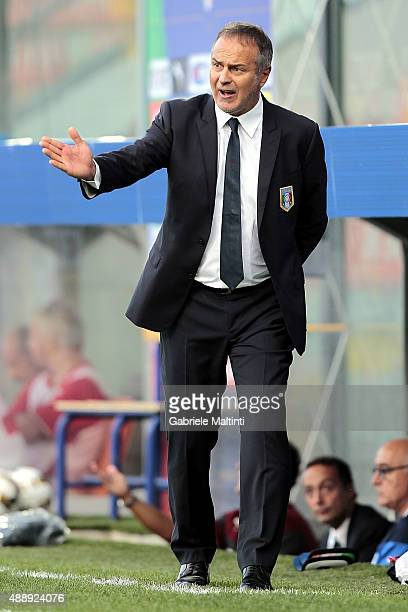 Antonio Cabrini manager of Italy gestures during the UEFA Women's EURO 2017 Qualifyier between Italy and Georgia at Stadio Alberto Picco on September...