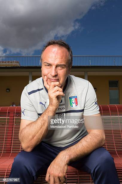 Antonio Cabrini the italian ex footballer and now coach of the feminine national football team sits thoughtfull on a the bench Italy 12th June 2012