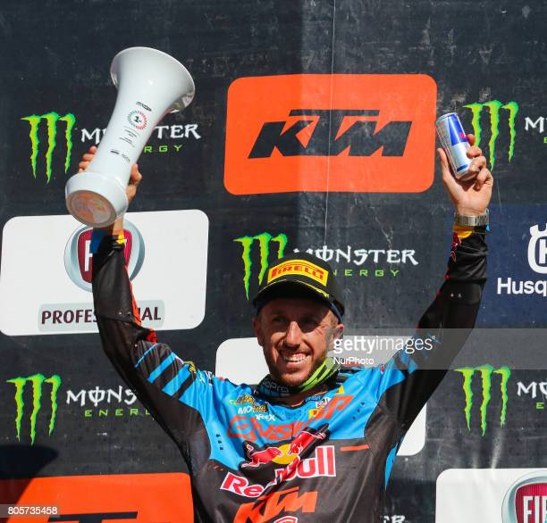 Antonio Cairoli in KTM of Red Bull KTM Factory Racing celebrate on the podium after win the MXGP World Championship 2017 Race of Portugal Agueda July...