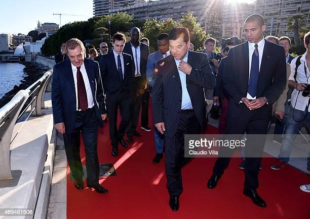 Antonio Caliendo Daniel Passarella and David Trezeguet attend the Golden Foot award ceremony at Fairmont Hotel on September 21 2015 in Monaco Monaco