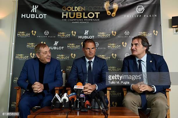 Antonio Caliendo Frank de Boer and Pierluigi Pardo attend a press conference during the Golden Foot 2016 Award Ceremony on October 11 2016 in Monaco...