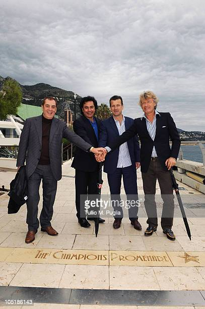 Antonio Caliendo Hugo Sanchez Carlos Dunga and Giancarlo Antognoni pose on The Champions Promenade before the Golden Foot Awards ceremony at Fairmont...