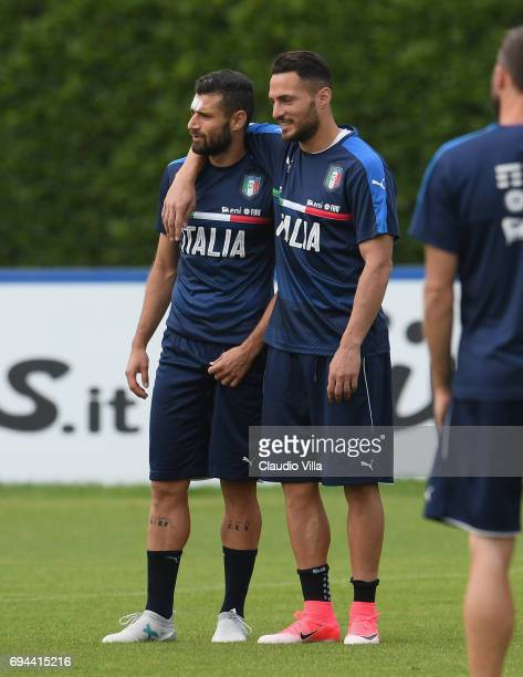Antonio Candreva and Danilo D'Ambrosio of Italy in action during the training session at Coverciano on June 10 2017 in Florence Italy