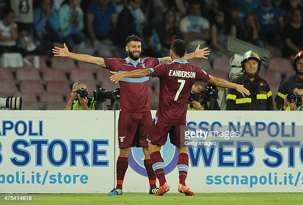 Antonio Candreva and Felipe Anderson of Lazio celebrate a goal 20 scored by Antonio Candreva during the Serie A match between SSC Napoli and SS Lazio...