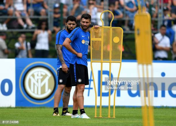 Antonio Candreva and Gabriel Barbosa Almeida of FC Internazionale look on during the FC Internazionale training session on July 12 2017 in Reischach...
