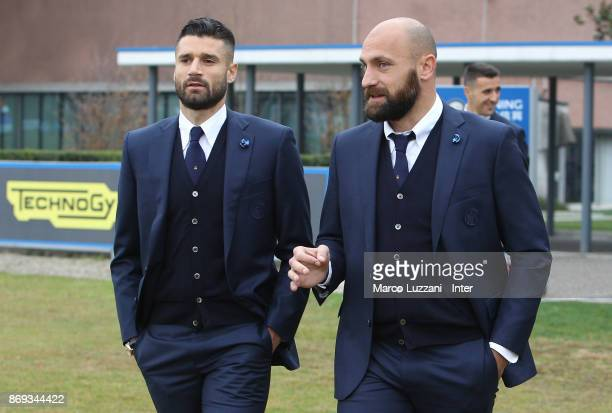 Antonio Candreva and Tommaso Berni of FC Internazionale back stage during the FC Internazionale Official Photoshoot at the club's training ground...