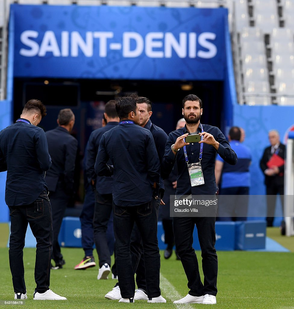 Antonio Candreva attends a pitch walkabout at Stade de France on June 26, 2016 in Paris, France.
