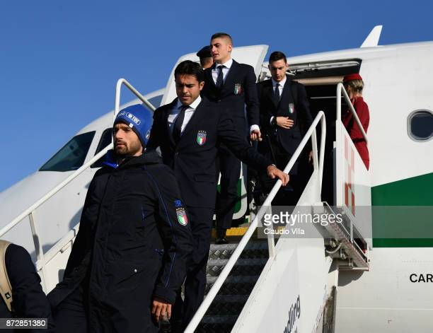 Antonio Candreva Citadin Martins Eder Marco Verratti and Matteo Darmian of Italy arrive at Malpensa airport on November 11 2017 in Milan Italy