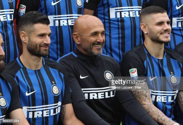 Antonio Candreva FC Internazionale Milano coach Luciano Spalletti and Mauro Emanuel Icardi of FC Internazionale back stage during the FC...