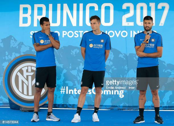 Antonio Candreva Jeison Murillo and Zinho Vanheusden of FC Internazionale Milano visits the Inter Village after the FC Internazionale training...