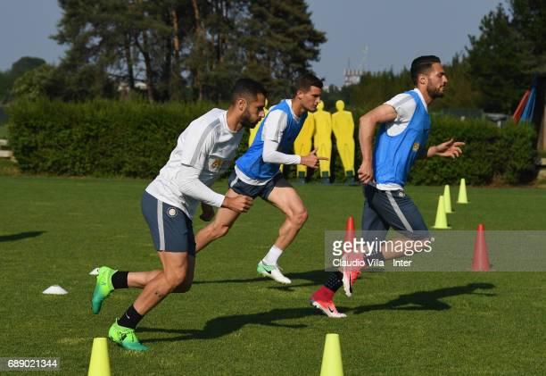 Antonio Candreva Marco Andreolli and Danilo D'Ambrosio of FC Internazionale in action during FC Internazionale training session at Suning Training...