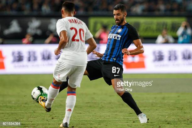Antonio Candreva of FC Internationale and Fernando Marcal of Olympique Lyonnais fight for the ball during the 2017 International Champions Cup...