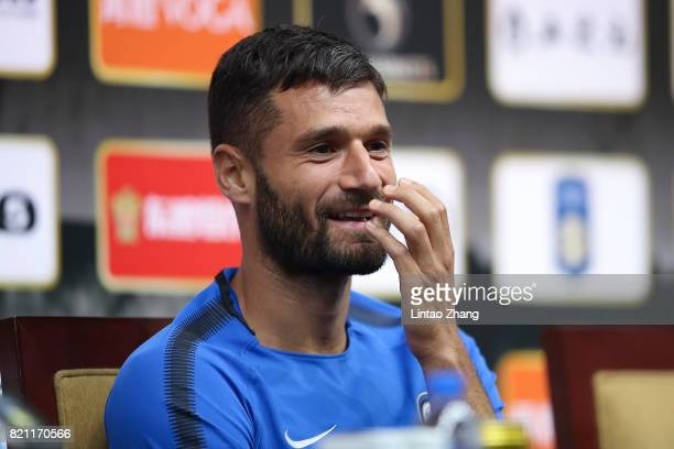 Antonio Candreva of FC Internazionale attends the a press conference ahead of the 2017 International Champions Cup football match between Olympique...