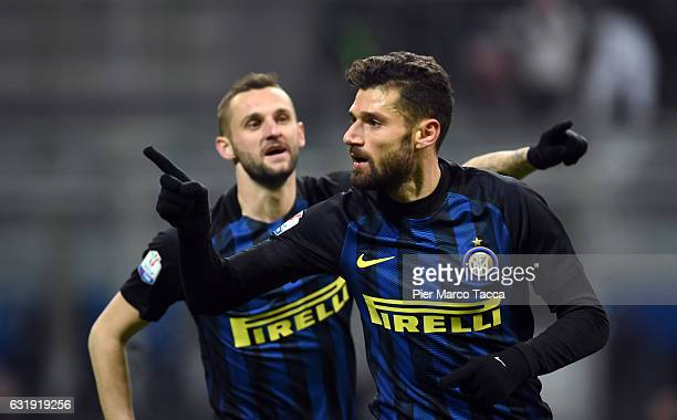 Antonio Candreva of FC Internazionale celebrates his first goal during the TIM Cup match between FC Internazionale and Bologna FC at Stadio Giuseppe...