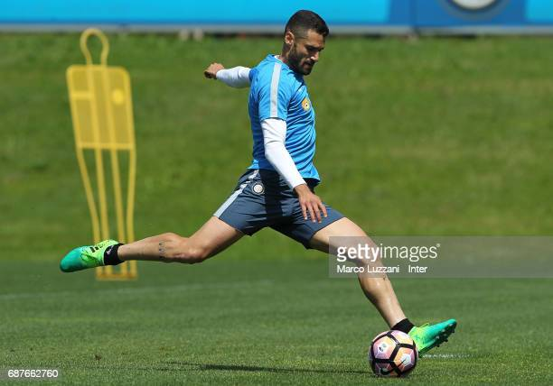 Antonio Candreva of FC Internazionale in action during the FC Internazionale training session at the club's training ground Suning Training Center in...