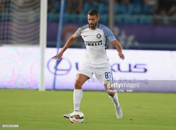Antonio Candreva of FC Internazionale in action during the preseason friendly match between FC Internazionale and FC Schalke 04 at Olympic Stadium on...