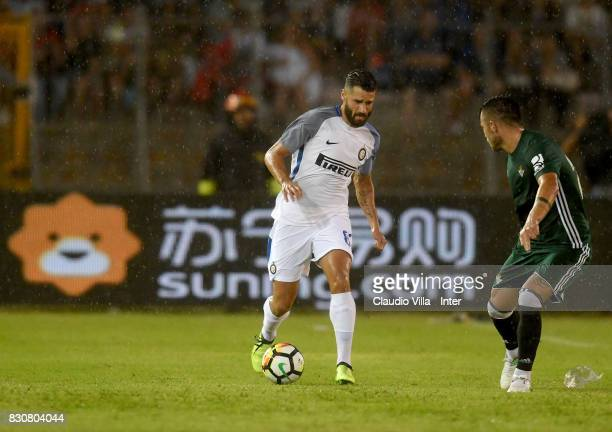Antonio Candreva of FC Internazionale in action during the PreSeason Friendly match between FC Internazionale and Real Betis at Stadio Via del Mare...