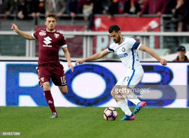 Antonio Candreva of FC Internazionale in action during the Serie A match between FC Torino and FC Internazionale at Stadio Olimpico di Torino on...
