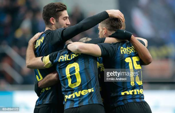 Antonio Candreva of FC Internazionale Milano celebrates his goal with his teammates during the Serie A match between FC Internazionale and Empoli FC...