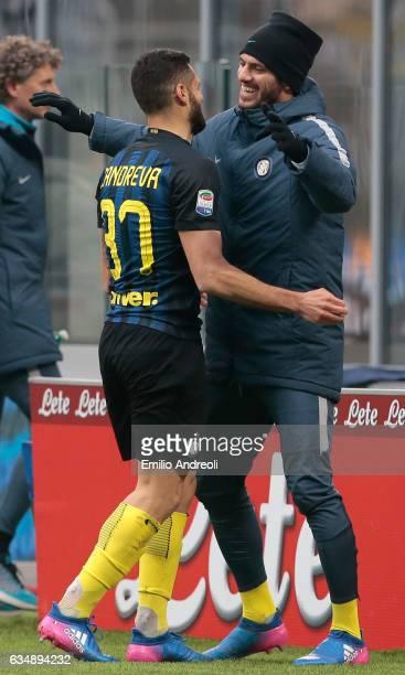 Antonio Candreva of FC Internazionale Milano celebrates his goal with his teammate Davide Santon during the Serie A match between FC Internazionale...