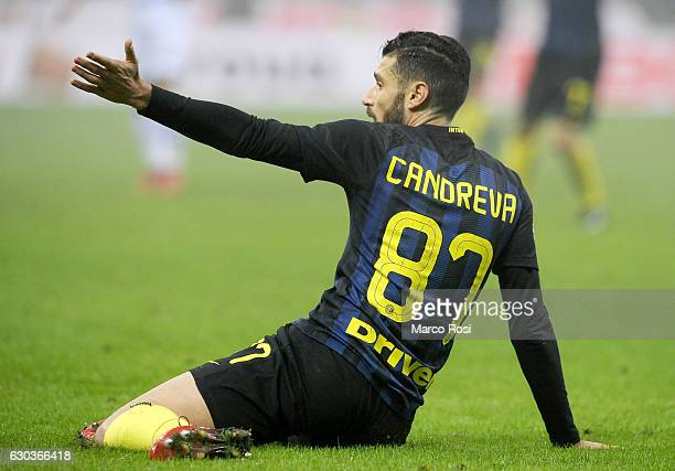 Antonio Candreva of FC Internazionale reacts during the Serie A match between FC Internazionale and SS Lazio at Stadio Giuseppe Meazza on December 21...