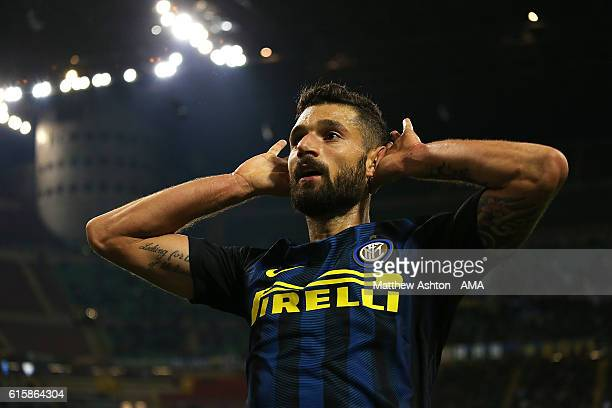 Antonio Candreva of Inter celebrates scoring the first goal to make the score 10 during the UEFA Europa League match between FC Internazionale Milano...