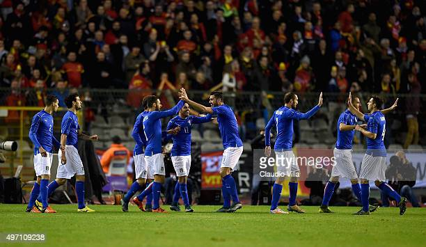 Antonio Candreva of Italy celebrates after scoring the opening goal during the international friendly match between Belgium and Italy at King...