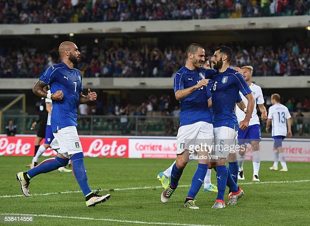 Antonio Candreva of Italy celebrates after scoring the opening goal during the international friendly match between Italy and Finland on June 6 2016...