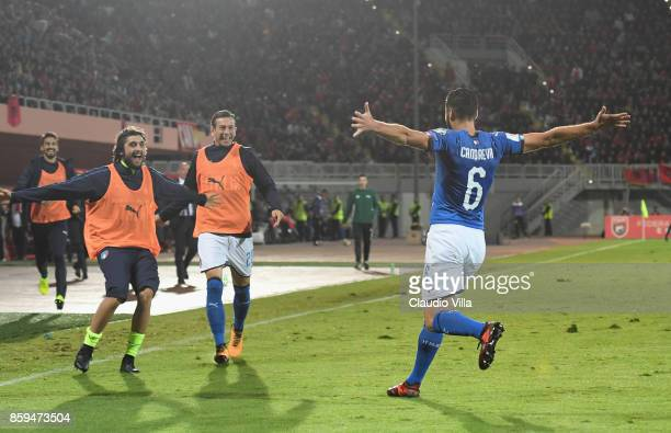 Antonio Candreva of Italy celebrates after scoring the opening goal during the FIFA 2018 World Cup Qualifier between Albania and Italy at Loro Borici...