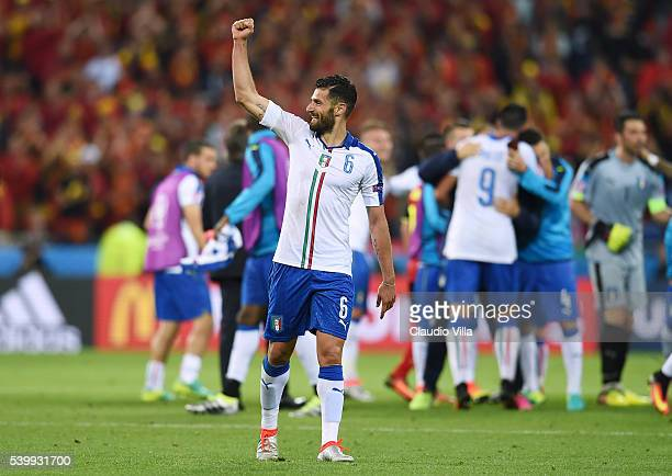 Antonio Candreva of Italy celebrates his team's 20 win after the UEFA EURO 2016 Group E match between Belgium and Italy at Stade des Lumieres on June...