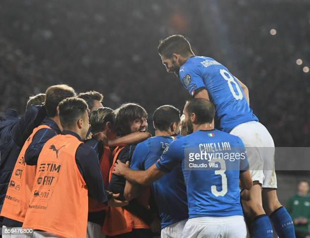 Antonio Candreva of Italy celebrates with teammates after scoring the opening goal during the FIFA 2018 World Cup Qualifier between Albania and Italy...