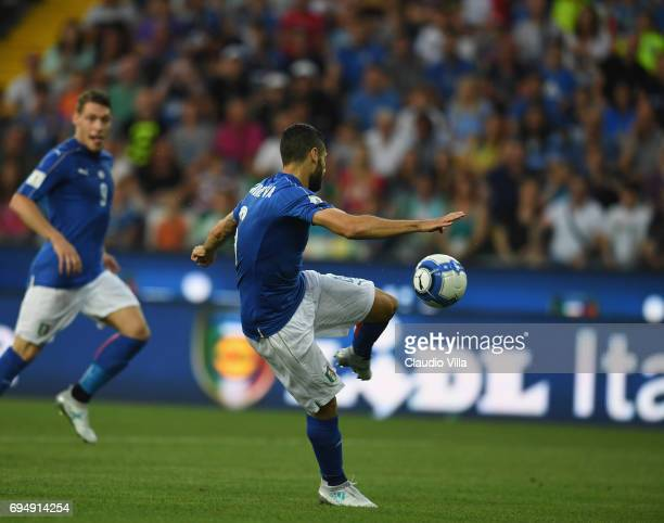Antonio Candreva of Italy in action during the FIFA 2018 World Cup Qualifier between Italy and Liechtenstein at Stadio Friuli on June 11 2017 in...