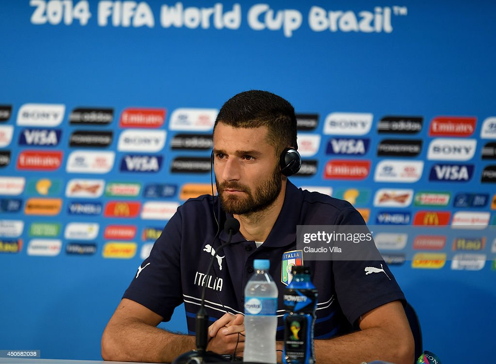 Antonio Candreva of Italy looks on during the Italy press conference before their first match of the 2014 FIFA World Cup Brazil against England at Arena Amazonia on June 13, 2014 in Manaus, Brazil.