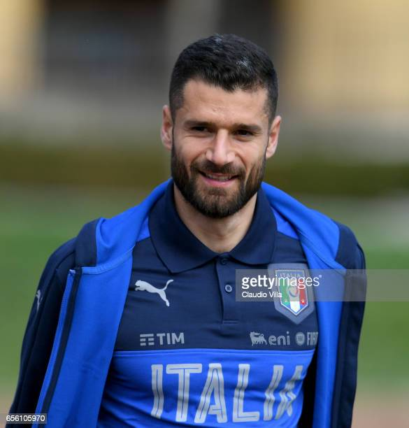 Antonio Candreva of Italy looks on prior to the training session at the club's training ground at Coverciano on March 21 2017 in Florence Italy