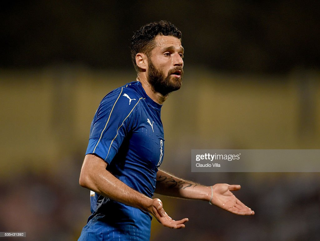 <a gi-track='captionPersonalityLinkClicked' href=/galleries/search?phrase=Antonio+Candreva&family=editorial&specificpeople=4063716 ng-click='$event.stopPropagation()'>Antonio Candreva</a> of Italy reacts during the international friendly between Italy and Scotland on May 29, 2016 in Malta, Malta.