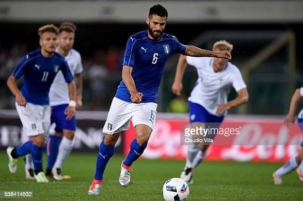 Antonio Candreva of Italy scores the opening goal during the international friendly match between Italy and Finland on June 6 2016 in Verona Italy