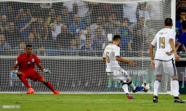 Antonio Candreva of Italy scores the second goal during the FIFA 2018 World Cup Qualifier between Israel and Italy at Itztadion Sammy Ofer on...