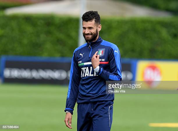 Antonio Candreva of Italy smiles during the Italy training session at the club's training ground at Coverciano on June 02 2016 in Florence Italy
