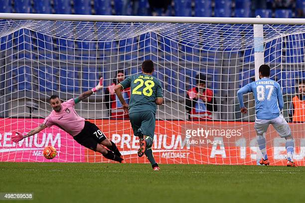 Antonio Candreva of Lazio scores the penalty during the Serie A match between SS Lazio and US Citta di Palermo at Stadio Olimpico on November 22 2015...