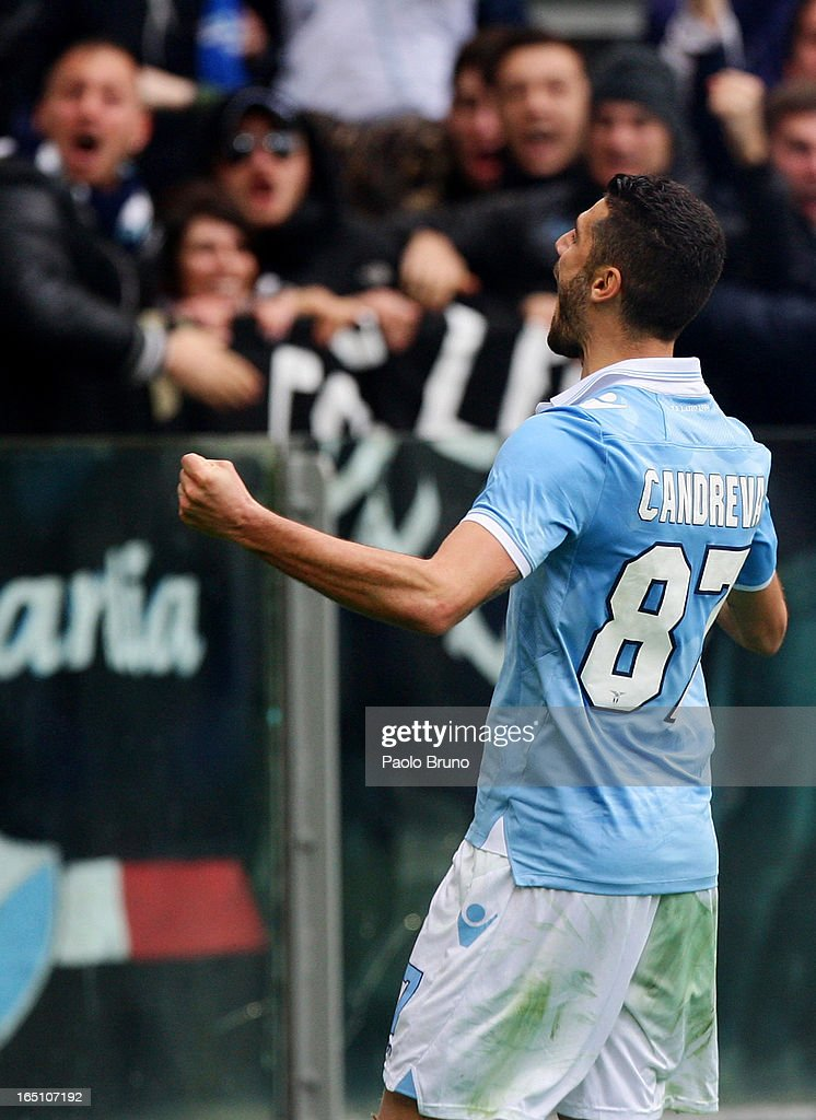 <a gi-track='captionPersonalityLinkClicked' href=/galleries/search?phrase=Antonio+Candreva&family=editorial&specificpeople=4063716 ng-click='$event.stopPropagation()'>Antonio Candreva</a> of S.S. Lazio celebrates after scoring his team's second goal from the penalty spot during the Serie A match between S.S. Lazio and Calcio Catania at Stadio Olimpico on March 30, 2013 in Rome, Italy.