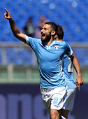 Antonio Candreva of SS Lazio celebrates after scoring the opening goal during the Serie A match between SS Lazio and UC Sampdoria at Stadio Olimpico...