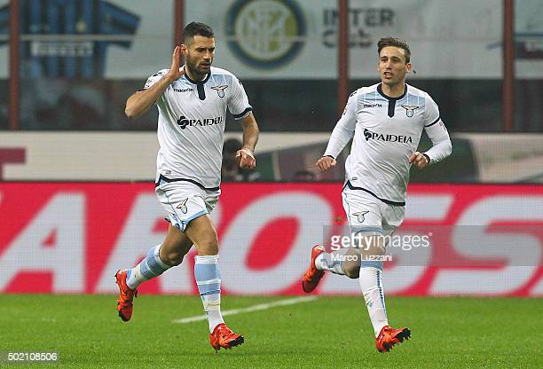 Antonio Candreva of SS Lazio celebrates after scoring the opening goal during the Serie A match between FC Internazionale Milano and SS Lazio at...
